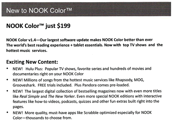 Nook Color price drop leak
