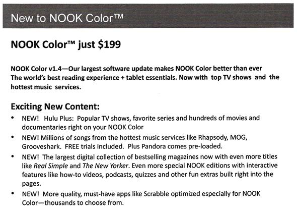 Nook Color price drop leak