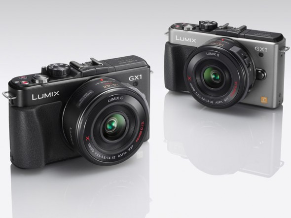 Panasonic Lumix GX1 MFT camera black and silver side-by-side