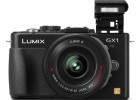 Panasonic Lumix GX1 MFT camera black front flash open