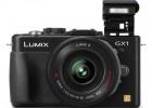 Panasonic Lumix GX1 MFT camera black front flash open