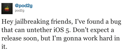iOS untethered jailbreak Twitter