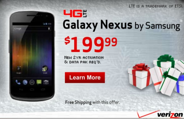 Verizon 4G LTE Galaxy Nexus price ad