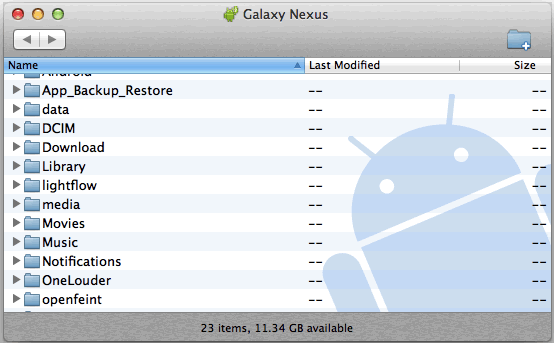Galaxy Nexus connected with MTP to a Mac with Android File Transfer - folder list