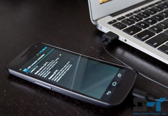 Galaxy Nexus connected to a MacBook Air via USB