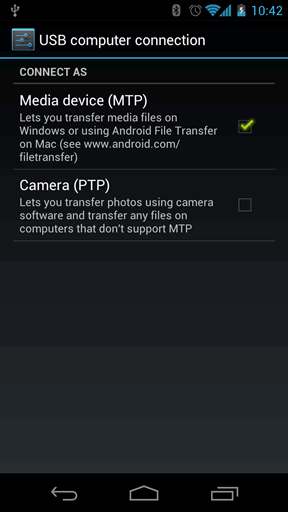 MTP and PTP selection on Ice Cream Sandwich device