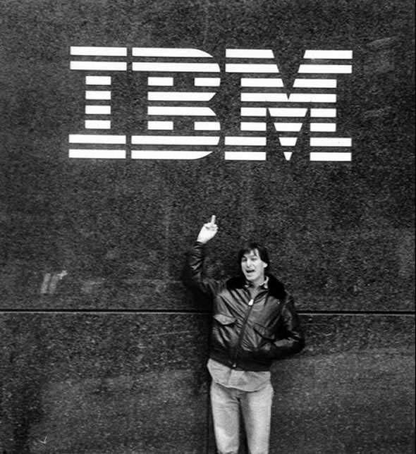 Steve Jobs flips IBM logo