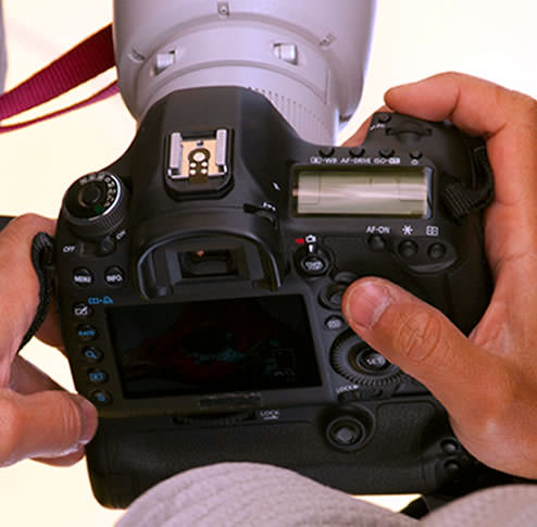 Canon 5D Mark III or 7D Mark II DSLR close-up of back and top