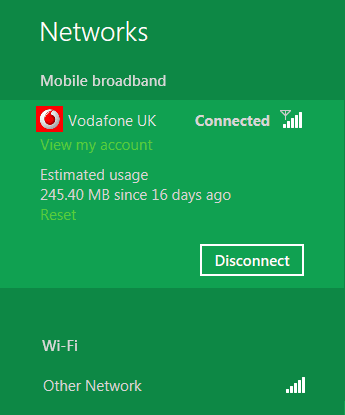 Mobile network connection and data usage