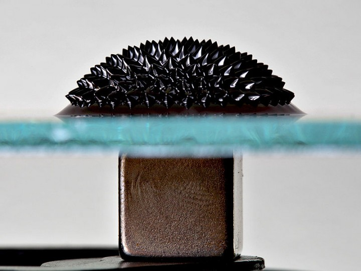 Ferrofluid on glass plate under the influence of a strong magnetic field provided from a magnet below