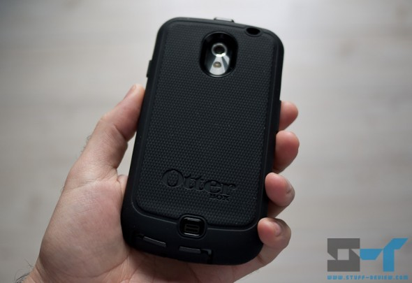 Galaxy Nexus OtterBox Defender series case back in hand