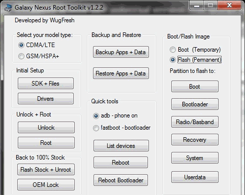 Wugfresh Galaxy Nexus Root Toolkit