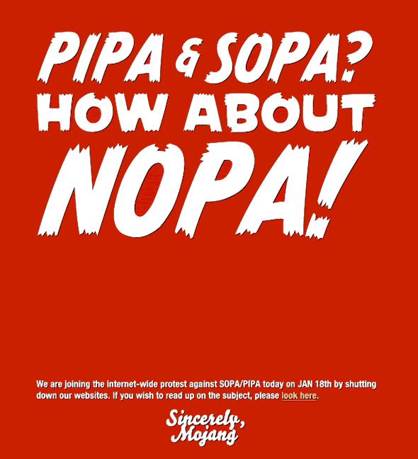 Mojang NOPA slogan