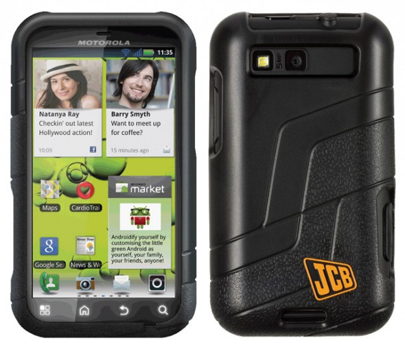 Motorola Defy+ JCB edition back and front
