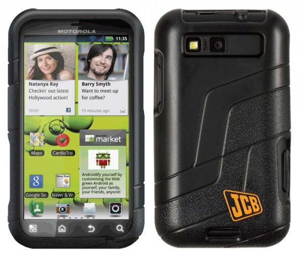 Motorola Defy+ JCB edition back and front