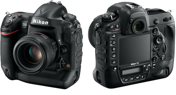 Nikon D4 full-frame DSLR front and back