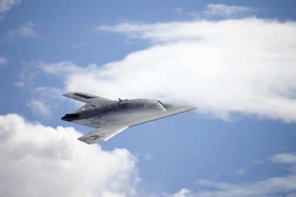 Northrop Grumman X-47B US Navy unmanned aircraft in flight
