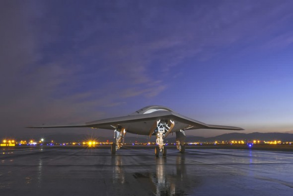 Northrop Grumman X-47B US Navy unmanned aircraft on runway