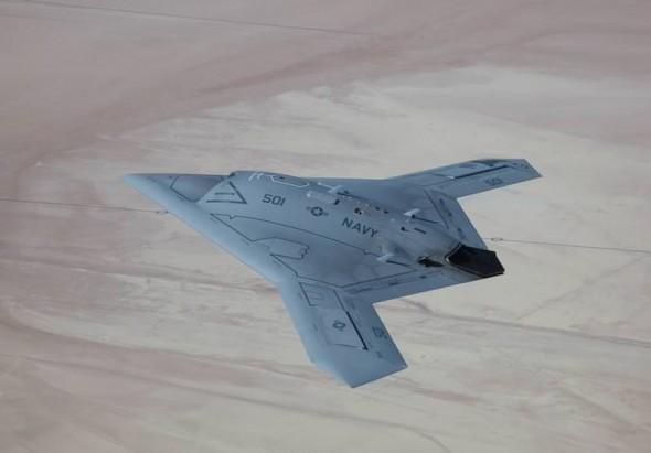 Northrop Grumman X-47B US Navy unmanned aircraft in flight top