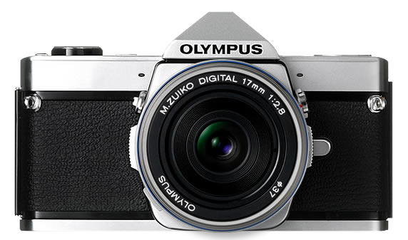 Mockup of Olympus mirrorless camera with integrated viewfinder