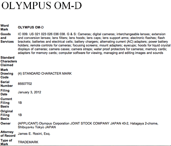 Olympus OM-D trademark registration