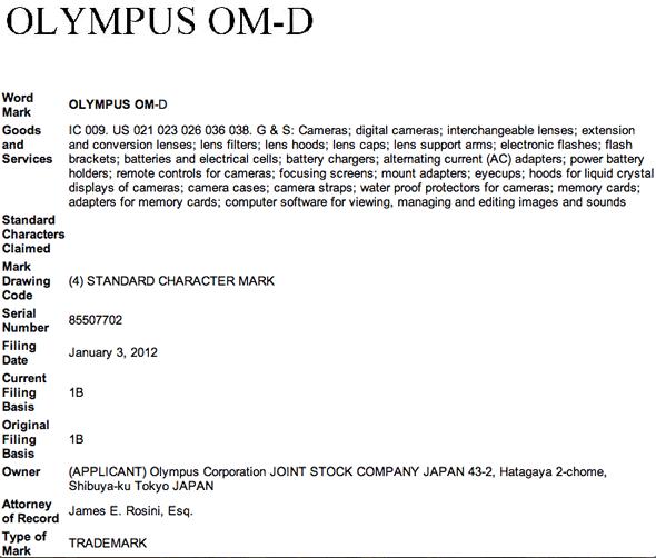 Olympus OM-D trademark registration