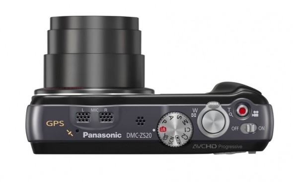 Panasonic ZS20 superzoom point-and-shoot camera - top