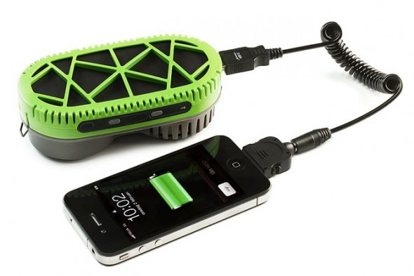 Powertrekk hybrid fuel cell charging an iPhone