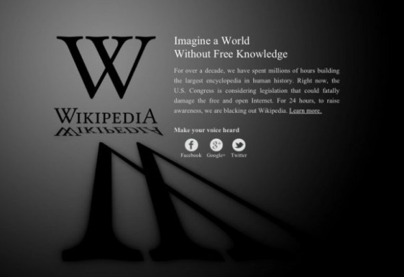 Wikipedia stop SOPA day blackout