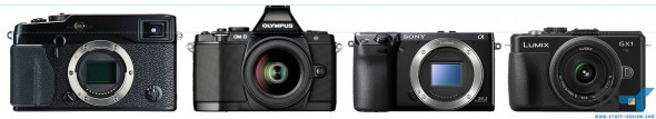 Olympus E-M5, Panasonic GX1, Sony NEX-7 and Fujifilm X-Pro1 size comparison - height
