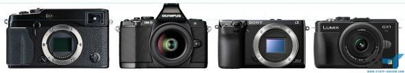Olympus E-M5, Panasonic GX1, Sony NEX-7 and Fujifilm X-Pro1 size comparison - height