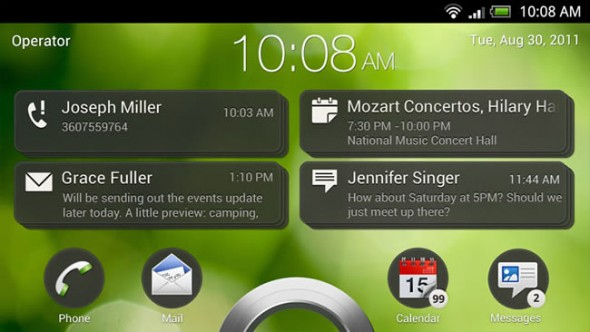 HTC Endeavor with Android ICS and Sense 4.0 - lockscreen