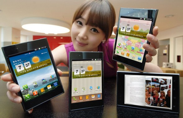 LG Optimus Vu 5.3-inch Android smartphone held by model