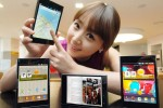 LG Optimus Vu 5.3-inch Android smartphone held by model pointing to maps