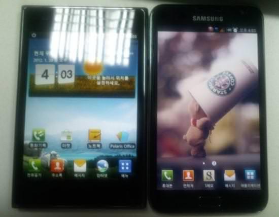 LG Optimus Vu vs. Samsung Galaxy Note size comparison picture