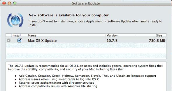 Mac OS X Lion 10.7.3 update