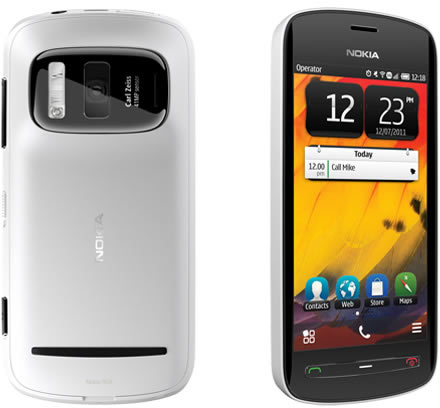 Nokia 808 PureView phone back and front