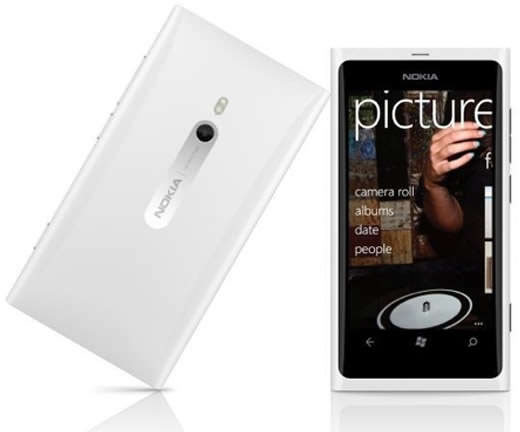 Nokia Lumia 800 smartphone in white front and back