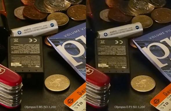 Olympus E-M5 vs. PEN E-P3 ISO 3,200 comparison