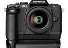Olympus OM-D E-M5 MFT digital camera - front - black with horizontal and battery grips