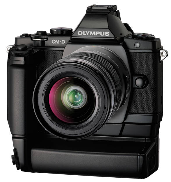 Olympus OM-D E-M5 front with optional battery grip