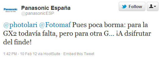 Panasonic Espana tweet on new G series camera