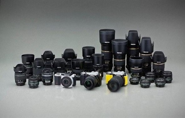 Pentax K-01 all three colors with K-mount lenses