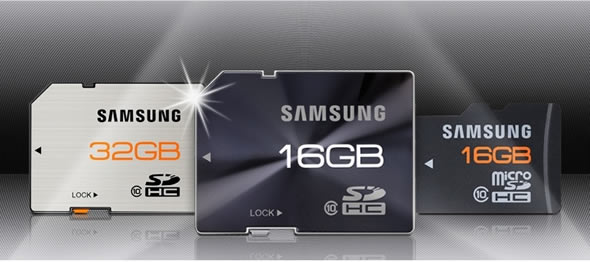 Samsung stylish brushed metal SD and microSD cards