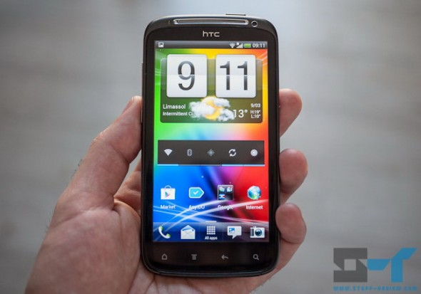 HTC Sensation running Android 4.0 ICS and Sense 3.6 homescreen