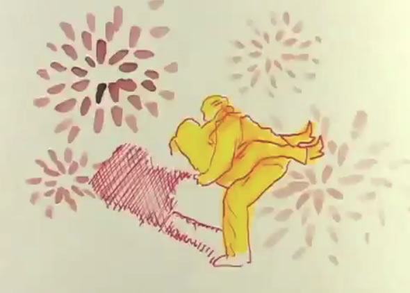 A frame from Jeff Scher's animated short Tulips