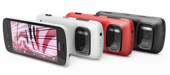 Nokia 808 PureView smartphone in white, red and black