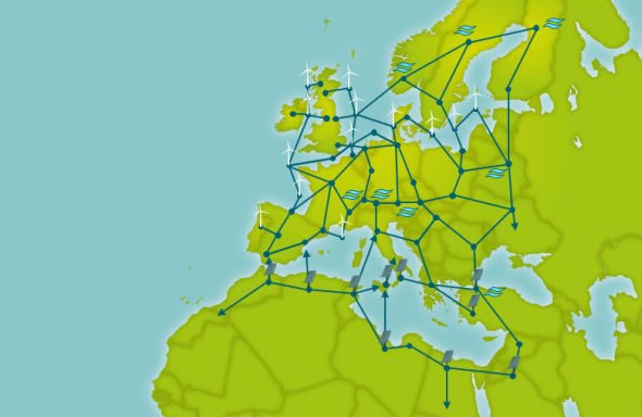 Supergrid for Europe map