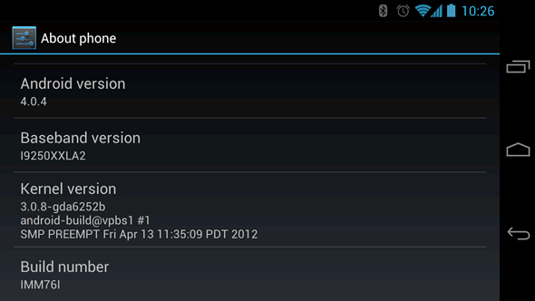 GSM Galaxy Nexus IMM76I Android 4.0.4 update