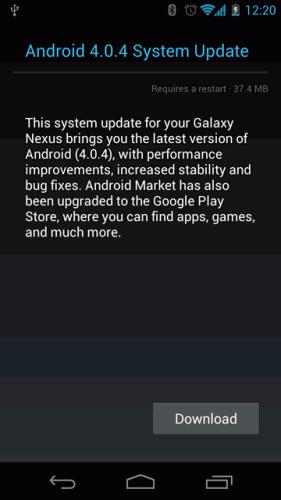 Galaxy Nexus Android 4.0.4 OTA update download